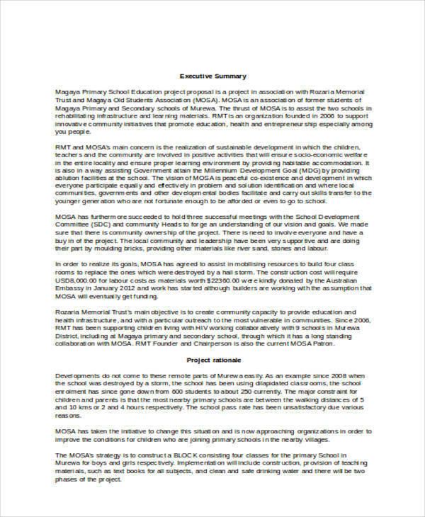 example of an executive summary for a construction project