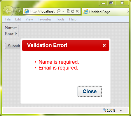 jquery popup div with close button example