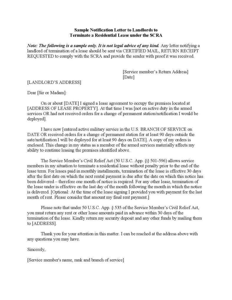 end of lease letter to tenant ontario landlord example