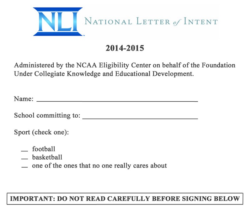 national letter of intent example