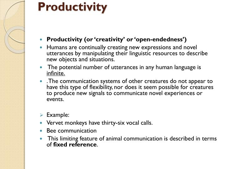 example of productivity in language