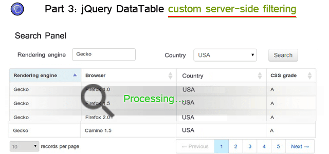 jquery datatable example in asp net mvc