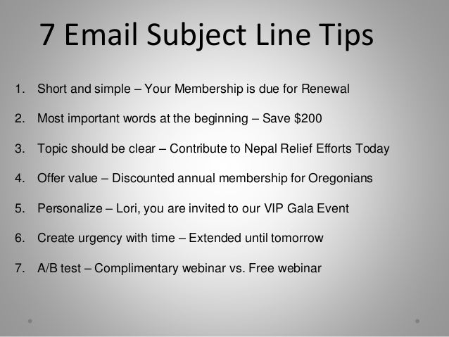 what subject for email example