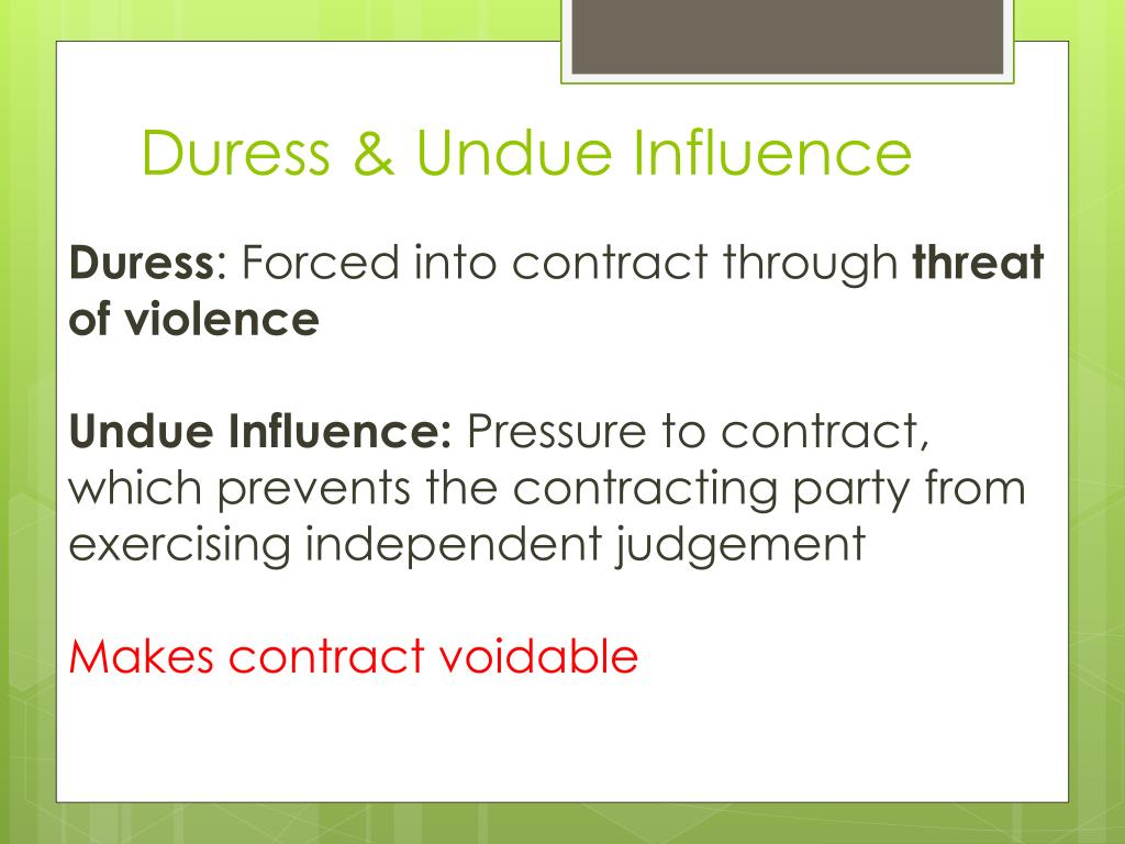 example of duress in contract law