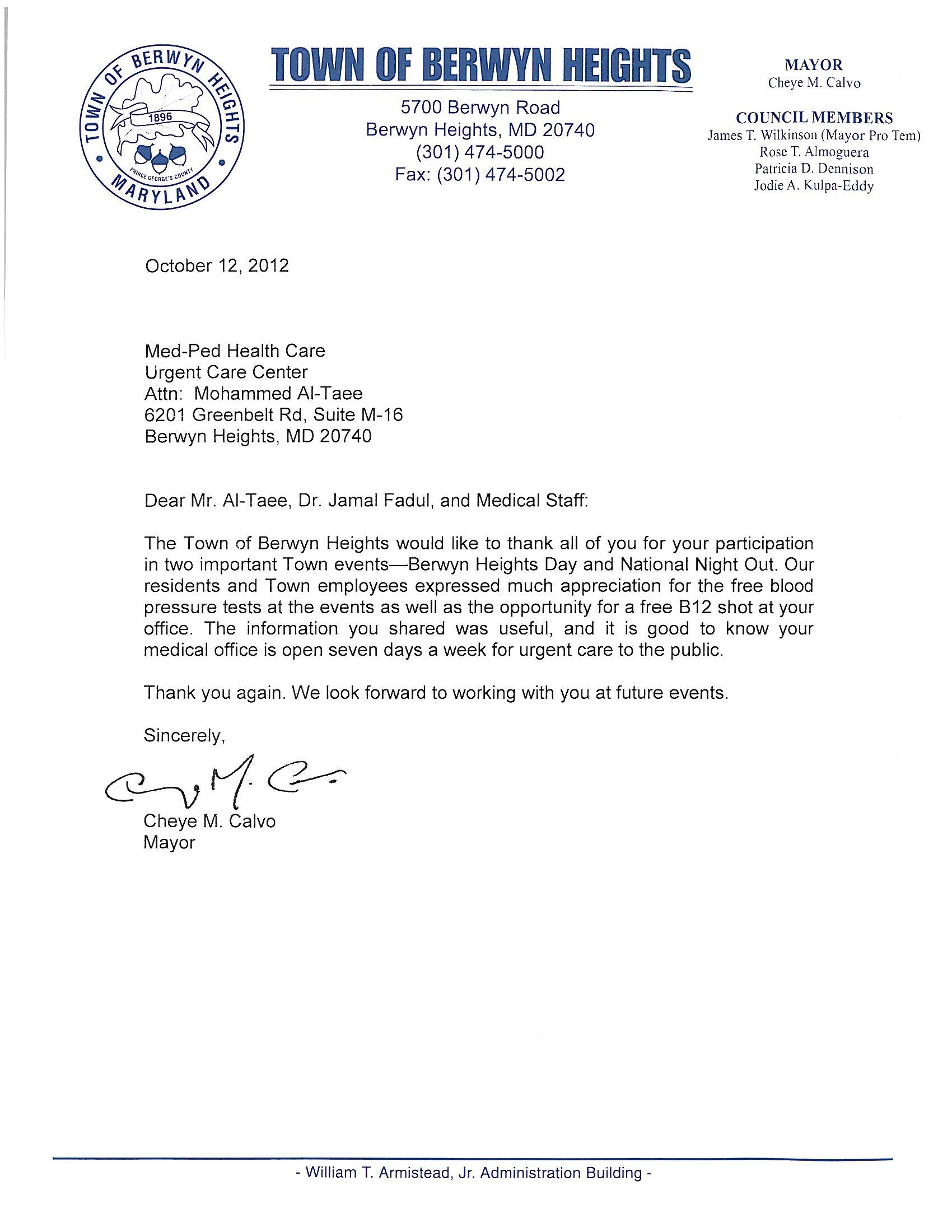 example of thank you letter to council for anniversary certificate