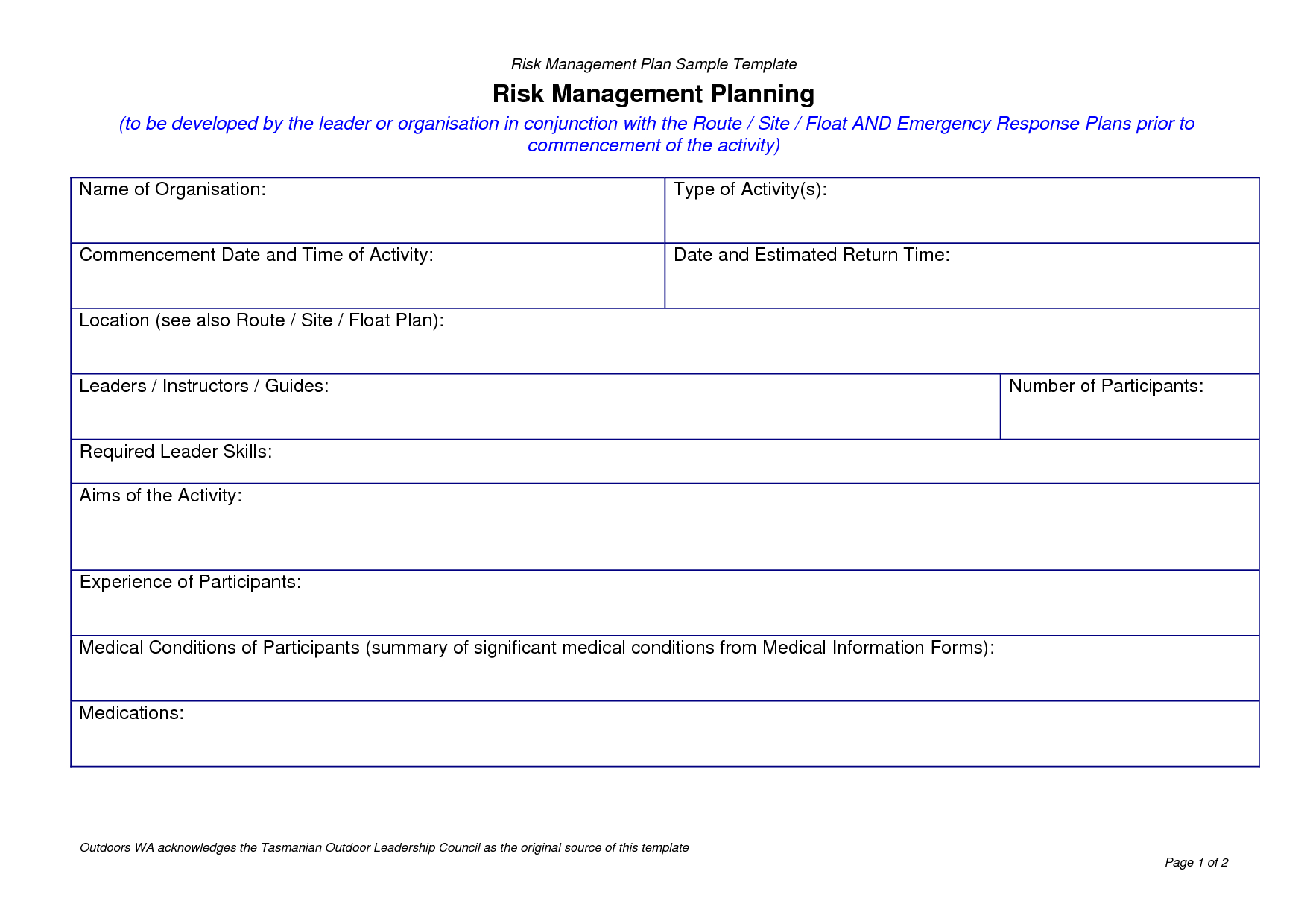 risk management plan template example